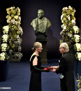 Claudia Steinman (L) receives her late husband Canadian Ralph Steinman's 2011 Nobel Prize in Medicine from King Carl XVI Gustaf of Sweden during the 2011 Nobel prize award ceremony at the Stockholm Concert Hall on December 10, 2011. AFP PHOTO/JONATHAN NACKSTRAND (Photo credit should read JONATHAN NACKSTRAND/AFP/Getty Images)
